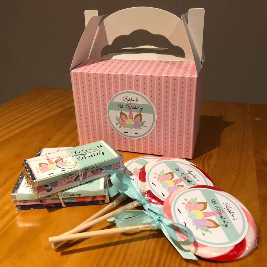 Personalised Chocolates and Lollipops for Teepee Party Melbourne