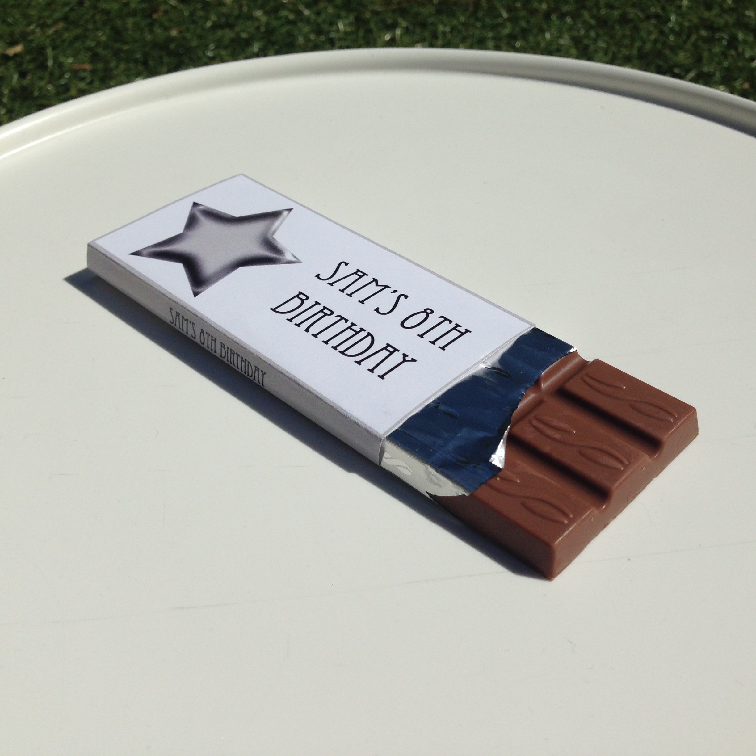 Personalised chocolate mini bars