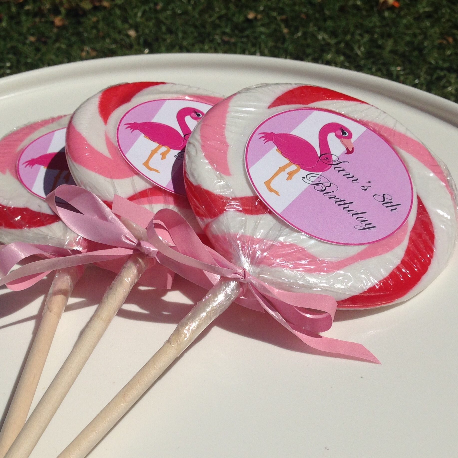 Personalised Flamingo Fun lollipop
